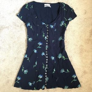 Urban Outfitters Navy Floral Fit and Flare Dress